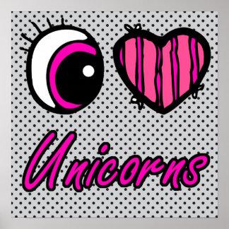 Licornes d'amour du coeur I d'oeil d'Emo Poster