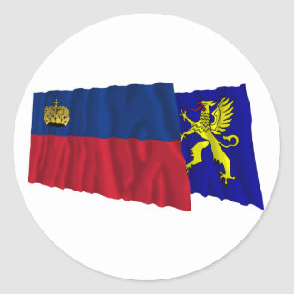 Liechtenstein & Balzers Waving Flags Round Sticker