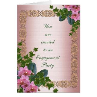 Lierre et orchidées d'invitation de partie de fian cartes de vœux
