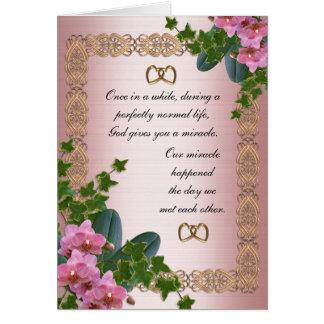 Lierre et orchidées d'invitation de partie de fian carte de vœux