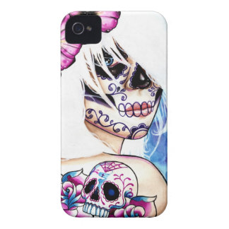 Lies Tattooed Day of the Dead Girl Portrait iPhone 4 Case-Mate Case