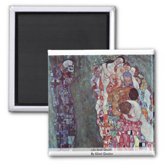 Life And Death By Klimt Gustav Square Magnet