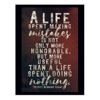 Life and mistakes quote postcard
