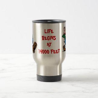 LIFE BEGINS AT 14000 FEET, Hiker Aluminum Mug