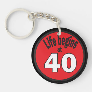 Life Begins at 40 | 40th Birthday Double-Sided Round Acrylic Keychain