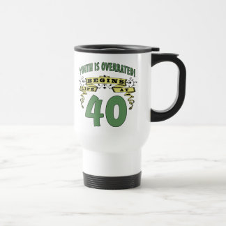 Life Begins At 40th Birthday 15 Oz Stainless Steel Travel Mug