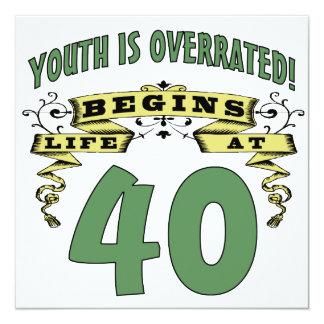 Life Begins At 40th Birthday 5.25x5.25 Square Paper Invitation Card