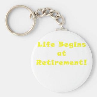 Life Begins at Retirement Basic Round Button Keychain
