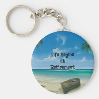 Life Begins at Retirement - Canoe on the Beach Keychain