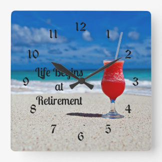 Life Begins at Retirement, frosty drink on beach Wall Clock