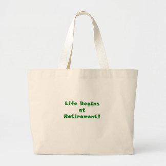 Life Begins at Retirement Large Tote Bag