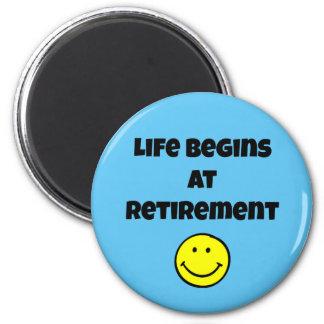 Life Begins at Retirement - Smiley Magnet