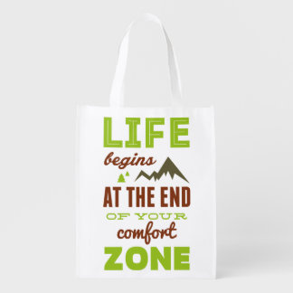 Life begins at the end of your comfort zone. reusable grocery bag