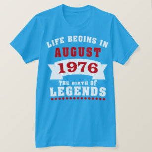 Life Begins August 1976 Birthday T Shirt