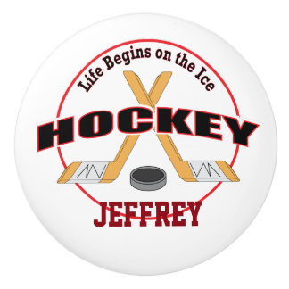 Life Begins Crossed Hockey Sticks with Name Ceramic Knob