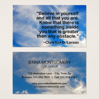 Life Coach Blue Sky Motivational Quote Business Card