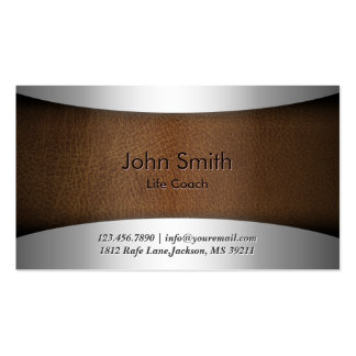 Life Coach Classy Leather Metallic Business Card