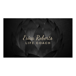 Life Coach Counselor Elegant Dark Lotus Floral Business Card