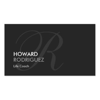 Life Coach  - Modern Swash Monogram Double-Sided Standard Business Cards (Pack Of 100)