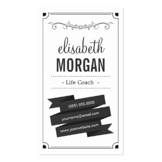Life Coach - Retro Black and White Business Card Templates