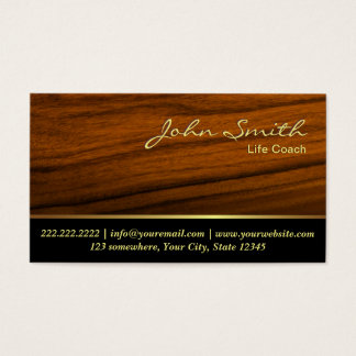 Life Coach Therapy Counseling Elegant Wood Business Card