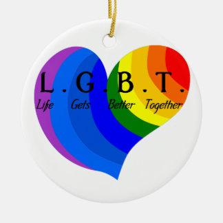 Life Gets Better Together LGBT Pride Round Ceramic Ornament