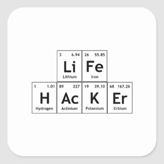 LiFe HAcKEr Chemistry Elements Periodic Table Word Square Sticker