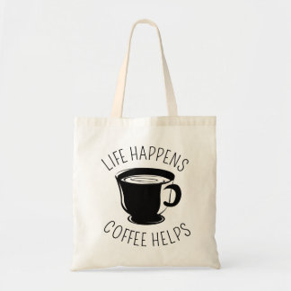 Life Happens, Coffee Helps Graphic Tote Bag
