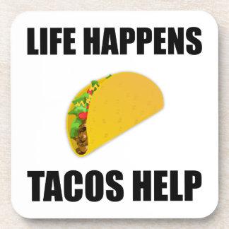 Life Happens Tacos Help Coaster
