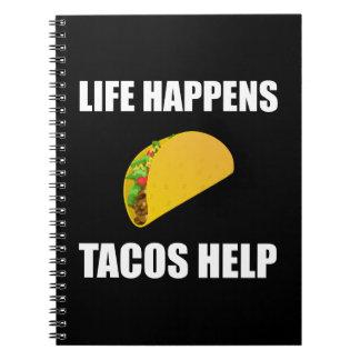 Life Happens Tacos Help Notebook