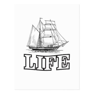 life in a sailboat postcard
