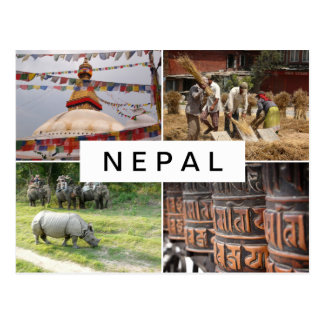 Life in Nepal collage postcard