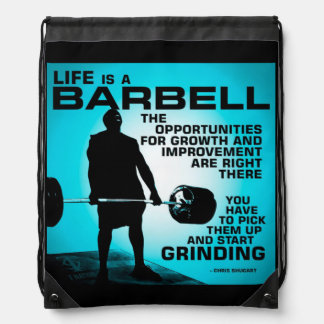 Life Is A Barbell - Workout Gym Inspirational Drawstring Bag