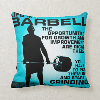 Life Is A Barbell - Workout Gym Inspirational Throw Pillow