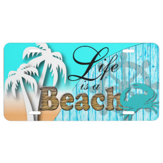 Life is a Beach | Nautical Baby Blue License Plate