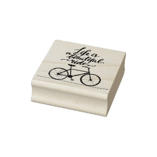 Life Is A Beautiful Ride Lime Green Rubber Stamp