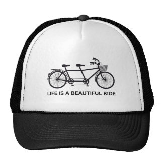 Life is a beautiful ride, tandem bicycle trucker hat