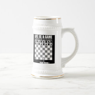 Life is a game, chess is serious 18 oz beer stein