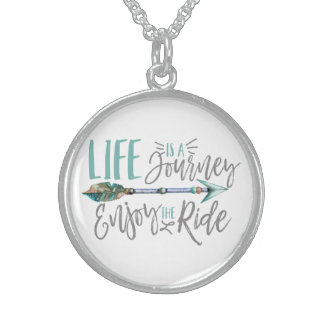 Life is a Journey Enjoy the Ride Boho Wanderlust Sterling Silver Necklace