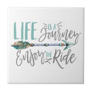 Life is a Journey Enjoy the Ride Boho Wanderlust Tile