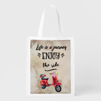 Life Is A Journey Red Moped With Flowers Reusable Grocery Bag