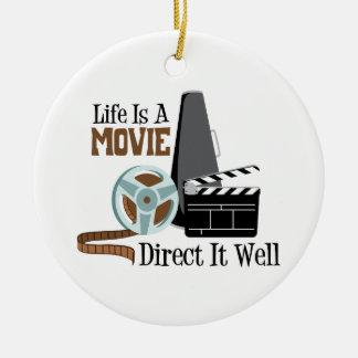 Life is a Movie Ceramic Ornament