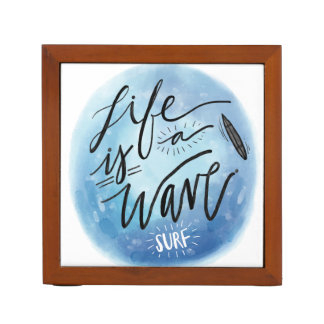 Life is a wave Surf board watercolor typography Desk Organizer