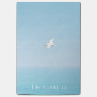Life is Beautiful Aqua Beach Inspirational Quote Post-it Notes