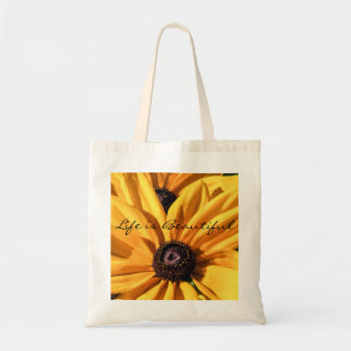 Life is Beautiful Black Eyed Susan Budget Tote Bag