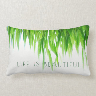 Life Is Beautiful Green Leaf Canopy on White Lumbar Pillow