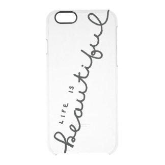 life is beautiful handlettered clear iPhone case