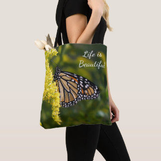 Life is Beautiful Monarch Butterfly Tote Bag