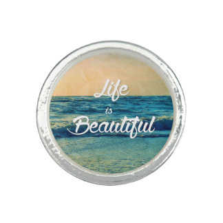 Life is beautiful photo ring