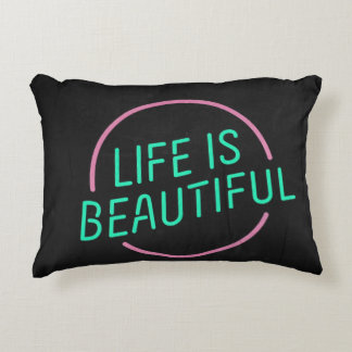 "🔠 Life is Beautiful Polyester Pillow 16"" x 12"" Accent Pillow"